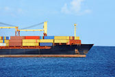 Container stack on freight ship — Foto Stock