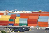 грузовой контейнер в порту — Стоковое фото