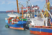 Cargo crane and container ship — Stockfoto