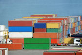 Cargo container in port — Foto Stock