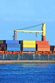 Nádoba zásobníku na nákladní lodi — Stock fotografie