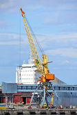 Cargo crane and ship — Stock Photo