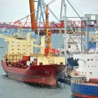 Bulk cargo ship under port crane — Foto de stock #36173099