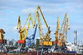 Cargo crane and train — Stock Photo