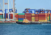 Container stack and tugboat — Stock fotografie