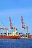 Cargo crane and ship — Stock Photo
