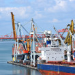 Bulk cargo ship under port crane — Lizenzfreies Foto