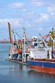 Toplu yük gemisi liman vinç altında — Stok fotoğraf
