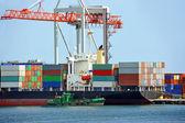 Navio e guindaste de carga — Foto Stock