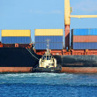 Tugboat assisting container cargo ship — Stock Photo #38775559