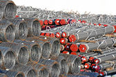 Steel wire roll and pipe — Stock Photo
