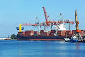 Cargo crane and ship — Foto Stock