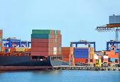 Cargo crane and ship — Foto de Stock