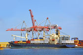 Cargo crane and ship — Foto Stock