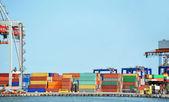 貨物の港のクレーンとコンテナー — ストック写真