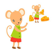 Lovely mouse take a cheese — Stock Vector