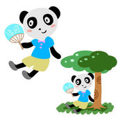 Lovely panda in summer — Stock Vector