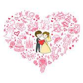 可爱的婚礼请柬 — 图库矢量图片