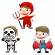 Cute boy dress up to devil skull man and Vampire — Stock vektor