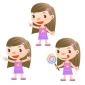 Cute girl with lollipop and open arms and pointing — Stock Vector
