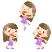 Cute girl showing,pointing and jumping — Stock Vector