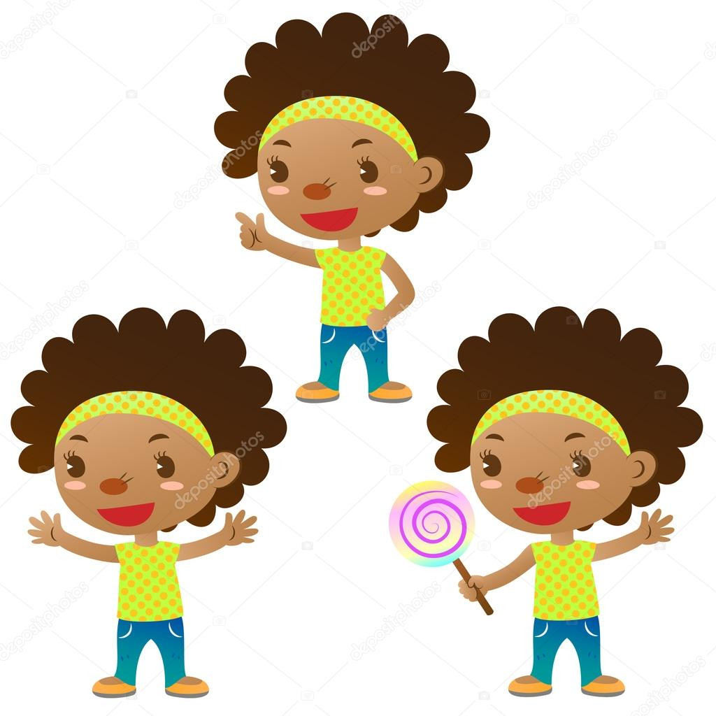 Cute black girl showing,pointing and holding a lollipop  Stock Vector #13882896