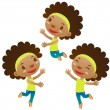 Stock Vector: Cute black girl jumping and dancing