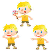 Cute blond boy pointing and holding lollipop — Stock Vector