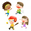 Cute kids playing — Stock Vector