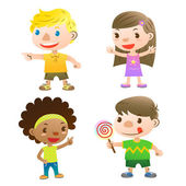 Cute kids pointing,open arms and holding a lolly — Stock Vector