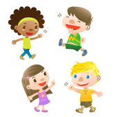 Cute kids pointing,walking and greeting — Stock Vector