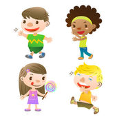 Cute kids showing,walking and holding a lolly — Stock Vector