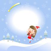 Christmas card with cute girl — Stock Vector
