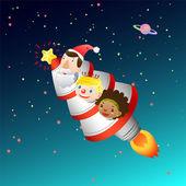 Roket ve çocuklar Noel kartı — Stok Vektör