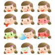 Cute girl facial expressions — Stock Vector