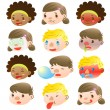 Children of various facial expressions — Stock Vector