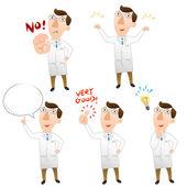 Cinco posar de doctor — Vector de stock