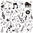 Stock Vector: Hand drawn,doodle music icon set