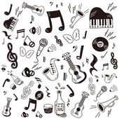Hand drawn,doodle music icon set — Stock Vector