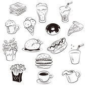 Hand draw foods in doodle style — Stock Vector