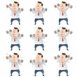 Fat Businessmwith dumbbells — Stock Vector #40601549