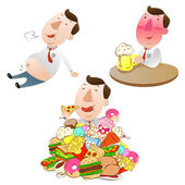 Man eating,drinking and eat very full — Stock Vector