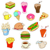 Fast foods icon set — Stock Vector