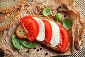 Mozzarella tomato sandwich — Stock Photo