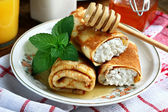 Cottage cheese crepes — Stock Photo