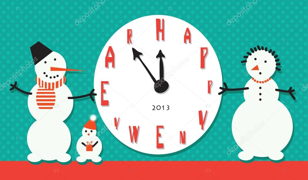 Vector art. Snowman holding a large clock in anticipation of New Year holiday — Stock Vector #17140343