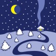 Winter night — Stock Vector