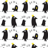 Seamless of the black bird on branch — Stock Vector