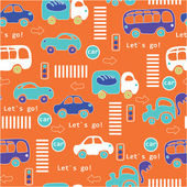 Seamless pattern with colorful little cars — Stock Vector