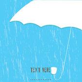 White umbrella and rain drops — Stock Vector
